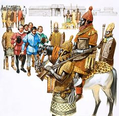 illustration showing the oba(king) of the benin empire being visited by portugese ambassadors