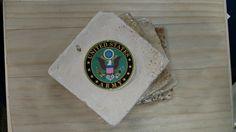Stone Coasters  Army Military Coaster  Drink by SammyGirlCrafts