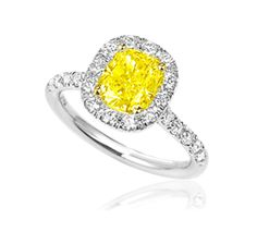 Cushion Cut Yellow Diamond Engagement Ring with Halo