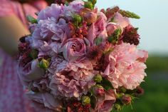 Organic bridesmaid bouquet featuring Peonies and Garden Roses