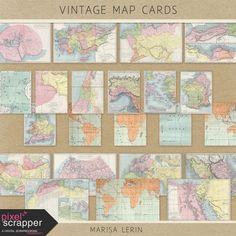 Vintage Map Cards Kit   digital scrapbook   travel, vintage, project life, scrapbooking, pocket cards, journal cards