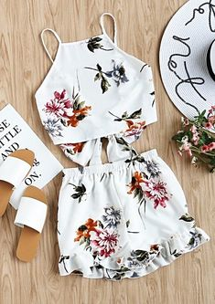 Tie Back Cami Top And Ruffle Trim Shorts