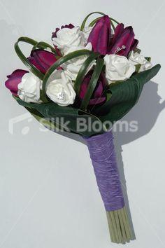 modern white bouquets   Modern White Rose & Pink-purple Tulip Bridal Bouquet Stunning, Modern ...
