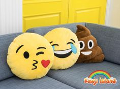 Cute emoji pillows made by Emoji Island