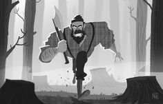Lumberjack Character by Nicolas Rix #lumbejack #cartoon #illustration #character design #sketch dailies #concept #art #digital art
