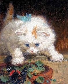 Hey, I found this really awesome Etsy listing at https://www.etsy.com/listing/173842491/antique-painting-of-a-kitten-watching-a
