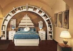 boys pirate bedroom | Pirates Bedroom Concept Design Inspiration  I Love the curved shelf!