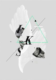Illustration, Poster, triangle, geometric, mint green, typo