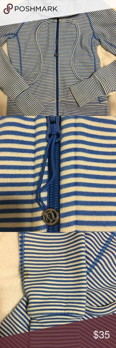 Lululemon jacket Blue and white striped jacket. pre loved with some stains on the bottom of the sleeves and the zipper has some wear and tear to it. still super cute and thick enough to keep you warm in the winter or a nice jacket in the fall!! lululemon athletica Jackets & Coats