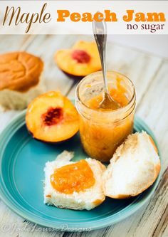 Natural Maple Peach Jam You will be so surprised how easy it is to make this No Sugar Maple Peach Jam Recipe! That's right no sugar! Sweetened with only Natural Maple Syrup and has a rich and juicy peach flavor! Jam Recipes, Canning Recipes, Dessert Recipes, Desserts, Family Recipes, Delicious Recipes, Beef Recipes, Peach Fruit Leather, Chocolate Raspberry Brownies