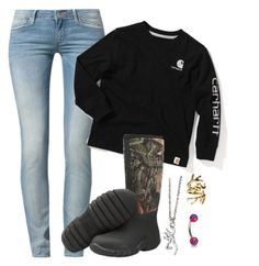 """""""Outfit of the day."""" by backwoods-princess ❤ liked on Polyvore featuring Wrangler, Muck Boot and House of Harlow 1960"""