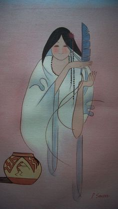 Southwest Indian Pueblo Woman Oil Painting on Canvas signed by P. Asian Bowls, Canvas Signs, Oil Painting On Canvas, Nativity, Chinese, Hand Painted, Indian, Woman, Disney Characters