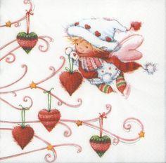 Decoupage Paper Napkins | Christmas Fairy Girl Decorating Tree with Hearts | Christmas Napkins | Fairy Paper Napkins for Decoupage 1