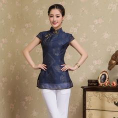 Charming Modern Summber Qipao Cheongsam Shirt - Blue - Chinese Shirts & Blouses - Women