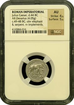 Julius Ceasar Silver Denarius (44bc) NGC-AU 4x5   Amazing example of one of the most noteworthy of all the Roman Emperors.  The front depicts an elephant trampling a serpent.  The detail is memorable and lifelike in all regards and this is the finest example we've encountered.   Highly recommended and seldom encountered this nice. -http://www.austincoins.com/offer/Julius-Ceasar-Silver-Denarius-NGC-AU-4x5/16601