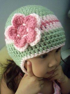 Handmade crochet adorable beanie earflap hat.  Love the colors.