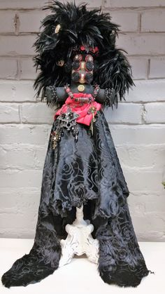 Original Mardi Gras MisChief Doll Elvira Queen of the Night by Connie Born by MGMisChiefCreations on Etsy