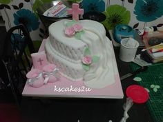 1st First Holy Communion Heart Cross Cake