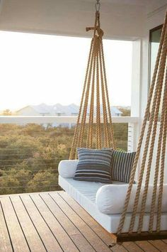 porch swing - love the detail of the ropes