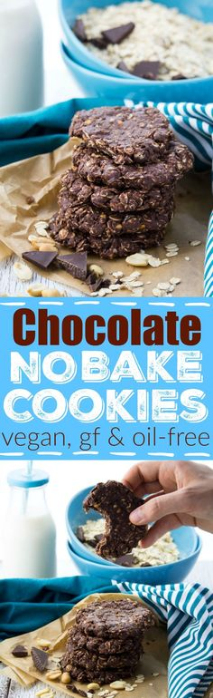 These chocolate peanut butter no bake cookies without milk are perfect when you feel like having a little treat and don't have enough time for real baking! They're vegan and gluten-free.