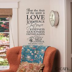 Vinyl Lettering But The Fruit Of The Spirit Is Love Joy peace patience kindness goodness... Galations 5:22-23 vinyl wall saying decal home decor scripture by VinylLettering on Etsy