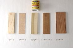 Home - Kitchen & Bath How 6 Different Stains Look On 5 Popular Types of Wood - Chris Loves Julia Car Best Wood Stain, Red Oak Stain, Red Oak Floors, Stain On Pine, Staining Pine Wood, Hardwood Floors, White Stain, Minwax Stain Colors, Wood Floor Stain Colors