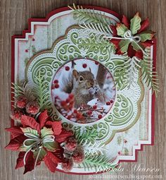 DIY Christmas/Winter die cut card with poinsettias and winter photo. Beautiful Christmas Cards, Christmas Tree Cards, Christmas Gift Tags, Xmas Cards, Holiday Cards, Christmas Diy, Christmas Topper, Christmas Crackers, Shape Art