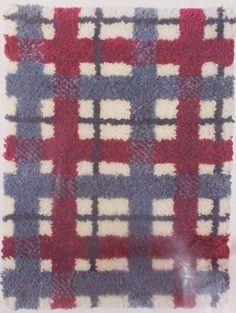 """Vintage Caron Latch Hook Pattern Canvas 3105 Plaid 20 x 27"""" 3 Color Schemes #Caron"""