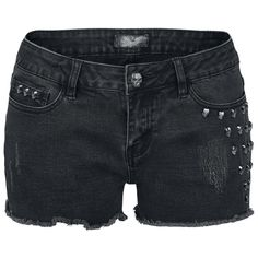 Hotpants by Rock Rebel:    - with embossed skull rivets  - fringed hems  - distressed effects  - closure: concealed zip with button in skull design    The Rock Rebel Skull Rivet Hotpants by EMP are ideal for hot days and festivals. Matching the distressed effect, the shorts have a fringed hem and one side is adorned by embossed skull rivets. Even the trouser button on the concealed zipper shows this skull design. The perfect shorts for true rockers!