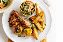 Cajun chicken with spicy potato wedges and coleslaw – Recipes – Slimming World
