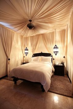 Canopied bedroom.