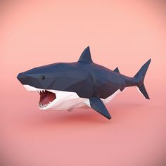 Low Poly Shark by Dosha969 Low Poly Shark.There are the following files:3ds max 2014;3ds max 2017;FBX;OBJ.Final images rendered with Corona renderer 1.5.Hope you like it! Thank you very much! Low Poly Games, Paper Crafts Origami, 3d Origami, Polygon Art, Cat Stands, Modelos 3d, Low Poly Models, Paper Animals, Low Poly 3d