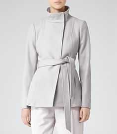 Womens Frost Belted Wool Jacket - Reiss Hermitage