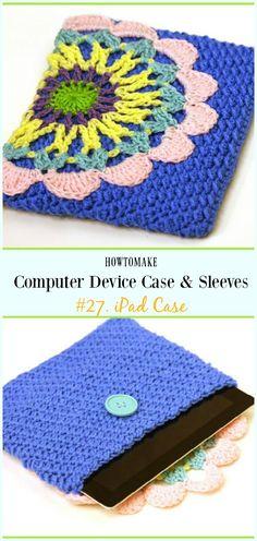 iPad Case Free Crochet Pattern - #Crochet Computer #Device Case Cozy Sleeves Free Patterns