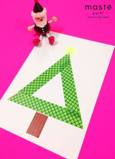 Christmas card made with masté washi masking tape simple MARK'S Tokyo Edge craft idea design stationery