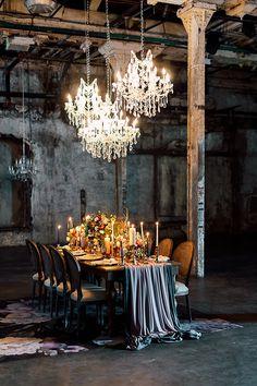 Loft Wedding Reception Decor Ideas Inspirational art for Magpie Wedding Wedding Reception Decorations, Wedding Table, Wedding Day, Table Decorations, Loft Wedding, Warehouse Wedding, Wedding Blog, Wedding Dinner, Cake Wedding