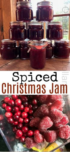 Christmas Jam Spiced Christmas Jam with Strawberries and Cranberries and wonderful holiday spices. Makes perfect Christmas gifts.Spiced Christmas Jam with Strawberries and Cranberries and wonderful holiday spices. Makes perfect Christmas gifts. Christmas Jam, Christmas Baking, Food Gifts For Christmas, Christmas Chutney, Christmas Cookies, Christmas Crafts, Carrot Cake Jam, Salsa Dulce, Jelly Recipes