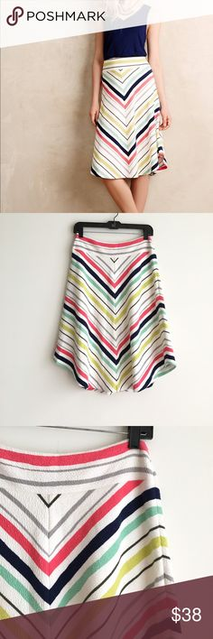 Maeve Colorful Springstripe A-Line Skirt Textured fabric cotton/poly/spandex with colorful chevron stripe print.  Zipper entrance on side.  Fully lined.  Excellent condition, no flaws. Anthropologie Skirts A-Line or Full