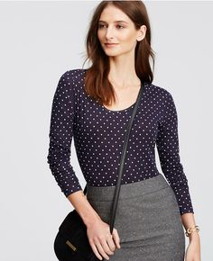 Thumbnail Image of Color Swatch 1246 Image of Dotted Scoop Neck Long Sleeve Tee