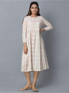 Off White Red Cotton Ikat Shirt Dress