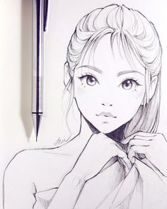 41 ideas for manga art sketches pencil portrait Girl Face Drawing, Woman Drawing, Manga Drawing, Manga Art, Anime Art, Drawing Faces, Drawing Girls, Sketch Girl Face, Drawing Women
