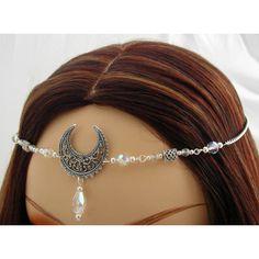 Elsbeth CUSTOM color TRIPLE Moon Lunar Goddess CIRCLET diadem tiara... ($27) ❤ liked on Polyvore featuring accessories, hair accessories, bride hair accessories, party crowns, goth hair accessories, bridal hair accessories and bride tiara