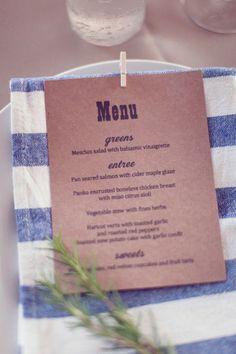 menukaart voor aan een servet.
