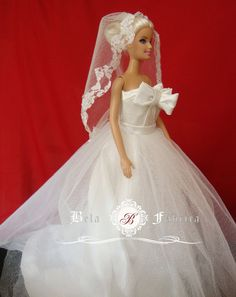 Miniature Replica Wedding Gown Aline Custom Bridal by BelaFabrica