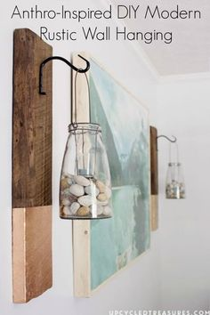 Anthro-inspired DIY modern rustic wall hanging made from reclaimed barn wood.