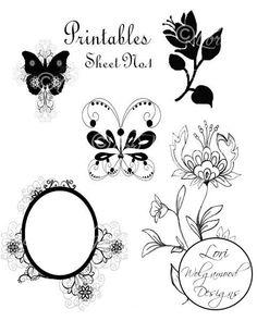 Printable Graphics Set No.1  Digital by VintageNestDesigns on Etsy