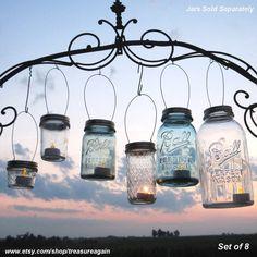 8 DIY Ball Jar Lanterns Lids Mason Jar Lanterns Hanging Candles or Flower Vases, Gold or Silver Twist On Lids only, no jars
