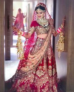 Amazing Heavy Bridal Red Lehenga Choli in Velvet and Net Dupatta Indian Bridal Outfits, Indian Bridal Lehenga, Indian Bridal Wear, Indian Dresses, Bridal Dresses, Bridal Lehenga Collection, Red Lehenga, Lehenga Choli, Sarees