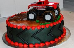 Monster Truck Cake to Go - Kalico Kitchen Digger Birthday Parties, 4th Birthday, Birthday Ideas, Monster Truck Birthday Cake, Truck Cakes, Birthday Cake Decorating, Cake Images, Monster Trucks, Birthdays