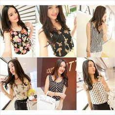 S-XL New style Women camis Casual Chiffon Vest Top tee Tank girl lady Sleeveless T Shirt Blouse top US $2.98 - 3.80